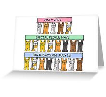 July 1st Birthday with cats. Greeting Card