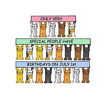 July 1st Birthday with cats. Photographic Print