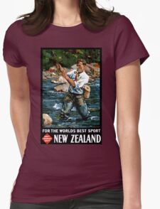 New Zealand Vintage Poster Restored Womens Fitted T-Shirt