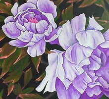 Purple Peony Blooms by SassoJo