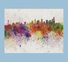 Seattle skyline in watercolor background Kids Clothes