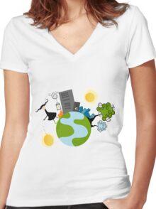 Urban Girl Vector Illustration Women's Fitted V-Neck T-Shirt