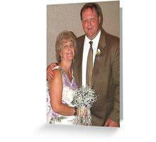 Bride, groom and bouquet Greeting Card