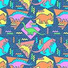 Nineties Dinosaurs Pattern by chobopop