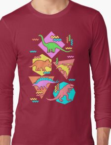 Nineties Dinosaurs Pattern Long Sleeve T-Shirt