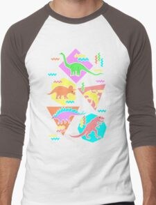 Nineties Dinosaurs Pattern Men's Baseball ¾ T-Shirt