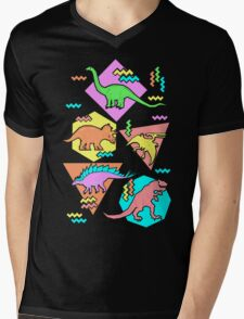 Nineties Dinosaurs Pattern Mens V-Neck T-Shirt