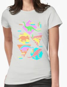 Nineties Dinosaurs Pattern Womens Fitted T-Shirt