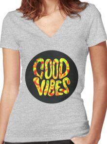 Good Vibes - Rasta  Women's Fitted V-Neck T-Shirt