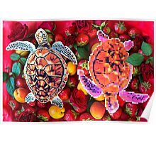 Turtles in a fruit salad Poster