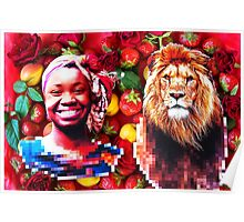 Woman and a lion in a fruit salad Poster