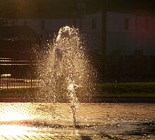 Fountain in the Sunset by Christi Mueller