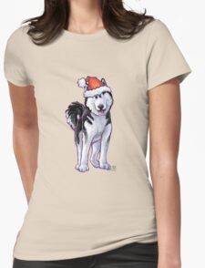 Husky Christmas Womens Fitted T-Shirt