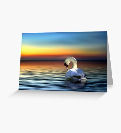 Sunset Swan Greeting Card