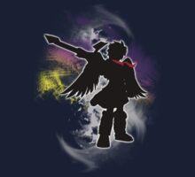 Super Smash Bros White Dark Pit Silhouette Kids Tee