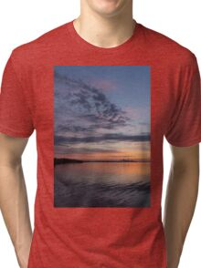 Toronto Skyline in Pastel Blue, Pink, Yellow, Orange and Purple Tri-blend T-Shirt