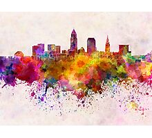 Cleveland skyline in watercolor background Photographic Print