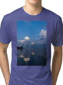 Cool Pearly Clouds Over the Lake Tri-blend T-Shirt
