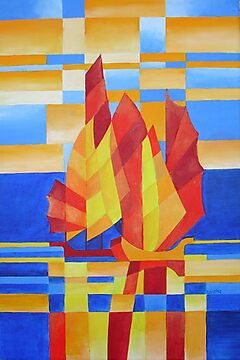 Sailing on the Seven Seas so Blue Cubist Abstract by taiche