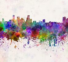 Baltimore skyline in watercolor background by paulrommer