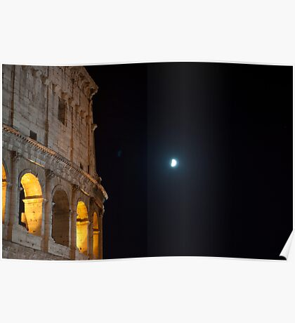 Colosseum in a night of half moon Poster