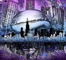 chicago city skyline by BekimART