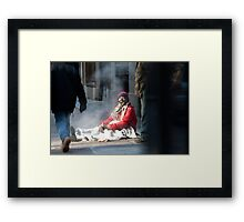 Just staying warm Framed Print