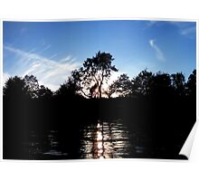 Summer sunset glinting through the trees on Lake Windemere  Poster