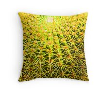 Psychedelic Golden Ball Barrel Cactus Close-up Throw Pillow