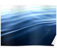 Silky wake on a blue lake  Poster