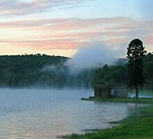 Morning Fog At The Reservoir by Geno Rugh
