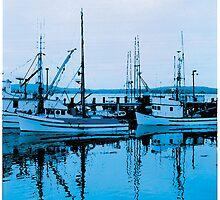 Three Fishing Boats–Bodega Bay, CA by JoeArunski