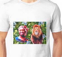 Woman and a lion in a green salad Unisex T-Shirt