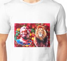 Woman and a lion in a fruit salad Unisex T-Shirt