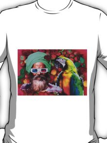 Man and a parrot in a fruit salad T-Shirt