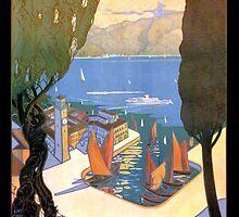 Lago di Garda Lake Garda Vintage Poster Restored by Carsten Reisinger