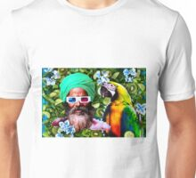 Man and a parrot in a green salad Unisex T-Shirt