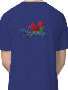 Sophia with Red Tulips and Cobalt blue Script Classic T-Shirt