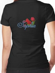 Sophia with Red Tulips and Cobalt blue Script Women's Fitted V-Neck T-Shirt