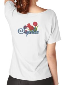 Sophia with Red Tulips and Cobalt blue Script Women's Relaxed Fit T-Shirt