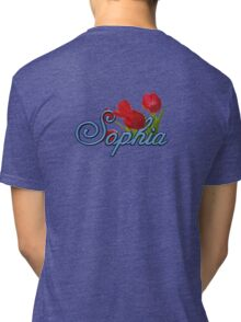Sophia with Red Tulips and Cobalt blue Script Tri-blend T-Shirt
