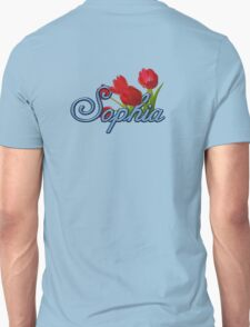 Sophia with Red Tulips and Cobalt blue Script T-Shirt