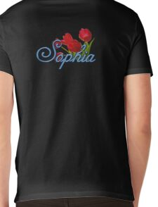 Sophia with Red Tulips and Cobalt blue Script Mens V-Neck T-Shirt
