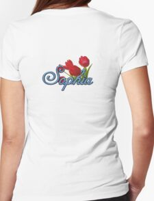 Sophia with Red Tulips and Cobalt blue Script Womens Fitted T-Shirt