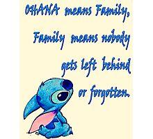 Disney Lilo & Stitch - Ohana Quote Photographic Print
