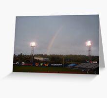 Rainbow during baseball game Greeting Card