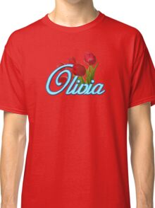 Olivia with Red Tulips and Neon blue Script Classic T-Shirt