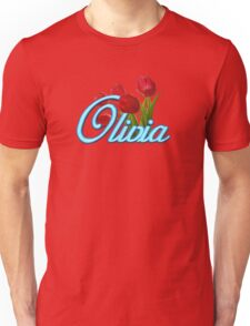 Olivia with Red Tulips and Neon blue Script Unisex T-Shirt