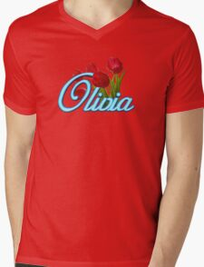Olivia with Red Tulips and Neon blue Script T-Shirt
