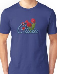Olivia with Red Tulips and cobalt blue Script Unisex T-Shirt